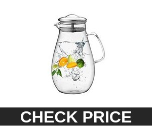 Hiware 64 Ounces Glass Pitcher with Stainless Steel Lid